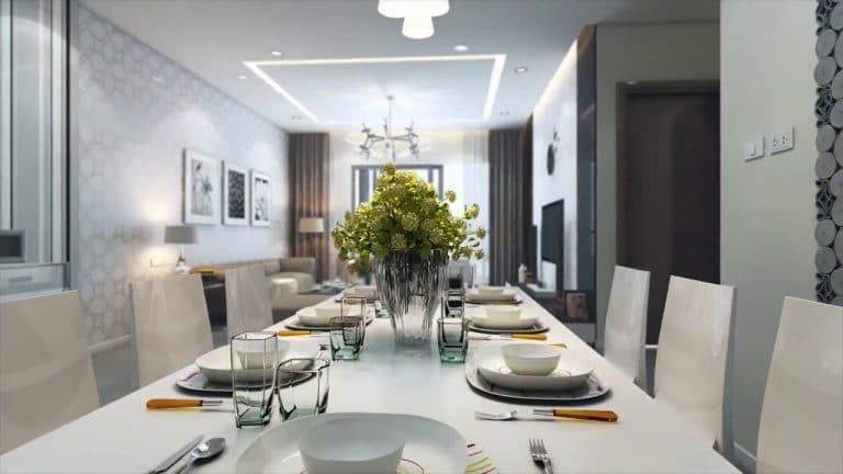 Phòng ăn ấm cúng bao quát tầm nhìn cả căn phòng khách